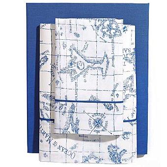 CASACTUAL Mapa Juego de cama estampado en color azul para cama 105 cm