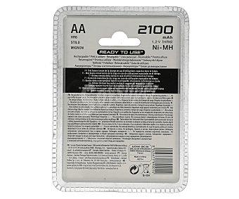 Auchan Pilas recargables AA ni-mh 2100 mah, listas para su uso 4 unidades