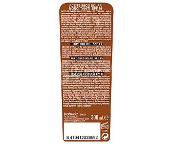 Babaria Aceite solar bronceador seco en spray, con factor de protección 15 (medio) y aroma a coco 300 ml