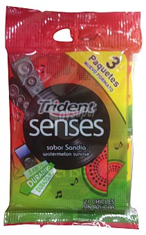 Trident Chicle sandia senses Paquete 3 u (40,5 gr)