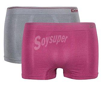 Unno Pack de 2 calzoncillos bóxer de algodón sin costuras para hombre by Dim AD005HF, color granate/gris, talla M