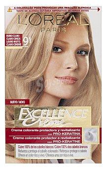 Excellence L'Oréal Paris Tinte Rubio Claro Claro Ceniza nº 9.1 crema color triple cuidado caja 1 unidad con Pro-keratina + Ceramida + Colágeno Caja 1 unidad
