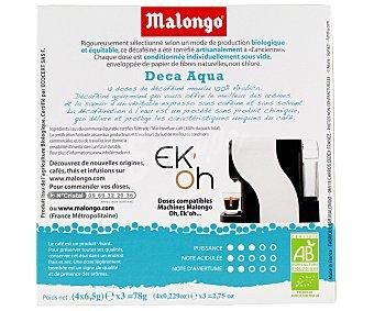Malongo Café Monodosis Descafeinado Ecológico Comercio Justo 12 Unidades 78 Gramos