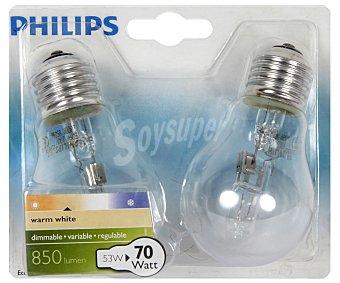 Philips Bombilla esférica ecohalogena 53 Watios, casquillo E27 (grueso) y luz cálida 2 unidades