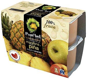 POM'BEL Compota de manzana y piña sin azúcar añadido 4x100g