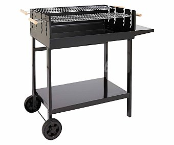 Garden Star Barbacoa de carbón XL con ruedas de 100x60 centímetros de color negro alcampo
