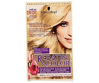 Keratin Color Schwarzkopf Coloración Permanente nº 9.0 Rubio Muy Claro 1 unidad