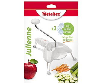 Metaltex Rallador, cortador de verduras con pies, modelo Julienne, incluye 3 discos de acero inoxidable para diferentes tipos de cortes 1 unidad