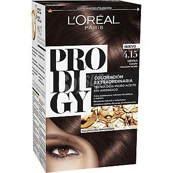 Prodigy L'Oréal Paris Tinte Sienna Castaño chocolate helado nº 4.15 coloración extraordinaria caja 1 unidad tecnología micro-aceite sin amoniaco Caja 1 unidad