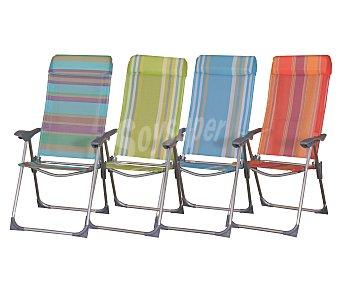 PROFILINE Silla plegable con 4 posiciones para camping y playa. Fabricada en aluminio, con asiento y respaldo de textileno, resistente a la intemperie y de fácil limpieza 1 unidad