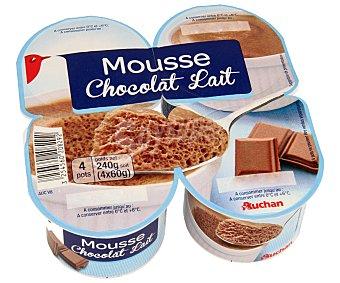 Auchan Mousse de chocolate Pack de 4 unidades de 100 gramos