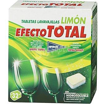 Hipercor Detergente lavavajillas efecto total limón Caja 32 pastillas