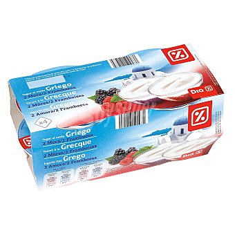DIA Yogur griego con moras / frambuesas pack 4 unidades 125 g