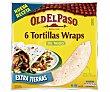Tortillas mejicanas de trigo Wraps 6 unidades (350 g) Old El Paso