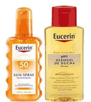 Eucerin Spray solar transparente Con FPS 50 + Regalo de Oleogel de ducha 200 ml. 200 ml