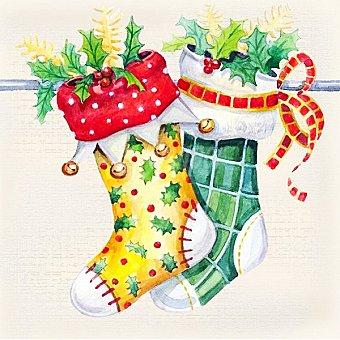 Papstar Servilletas decorado calcetines de Navidad Paquete 20 unidades