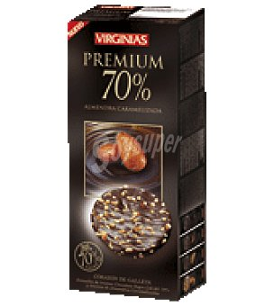 Virginias Galleta bañada de chocolate premium 70% con trocitos de almendra caramelizada 120 g