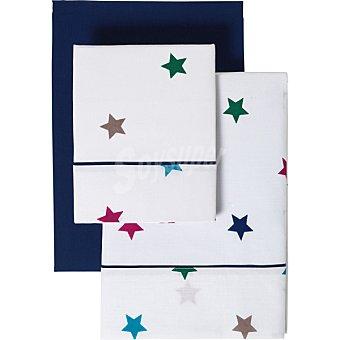 Casactual Estrellas juego de cama con bajera azul para cama 150 cm