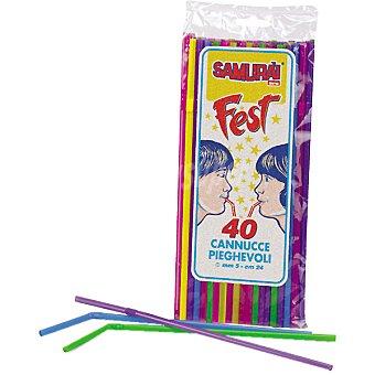 SAMURAI Pajitas para refresco flexibles 24 cm Bolsa 40 unidades