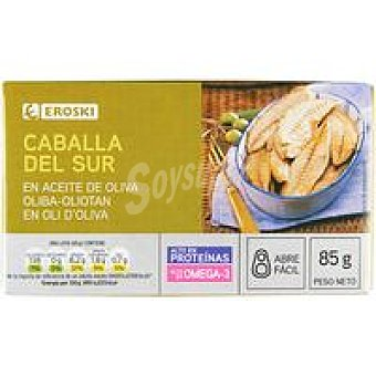 Eroski Filete de caballa del sur en aceite de oliva Lata 85 g