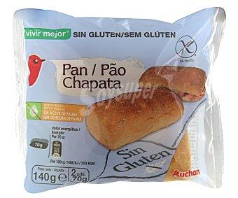 Auchan Pan chapata sin gluten (controlado por la face) 2 unidades (140 gramos)