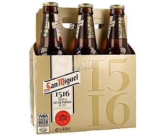 San Miguel Cerveza elaborada según la ley de pureza de 1516 Pack de 6 unidades de 33 centilitros