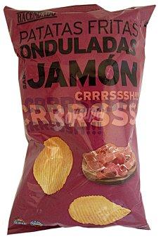 Hacendado Patatas fritas onduladas jamon Paquete 160 g