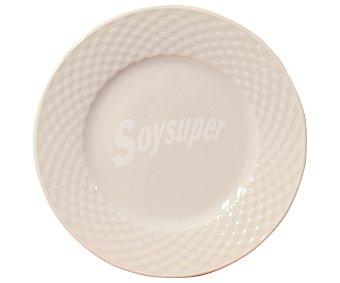 FUENTES GUERRA Plato de postre de 20 centímetros de diámetro, fabricado en porcelana con diseño trenzado 1 unidad