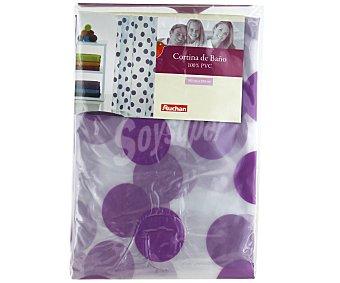 Auchan Cortina de baño 180x180 centímetros, estampado topos color lila 1 Unidad