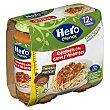 Tarritos de espaguetis con carne y verduras escondidas especial para bebés a partir de 12 meses Pack 2 tarros x 250 g Hero Nanos