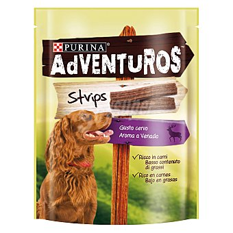 Purina Adventuros Strips para perros adultos medianos venado Envase 90 g