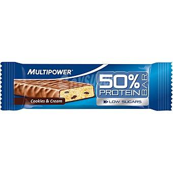MULTIPOWER Barrita 50% proteína baja en azúcares sabor galletas y crema  Envase de 50 g