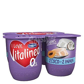 Vitalínea Danone Yogur desnatado 0% plus 2 sabor coco + 2 sabor papaya pack 4 unidades 125 g Pack 4 unidades 125 g