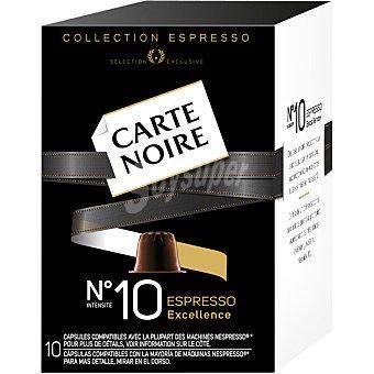 CARTE NOIRE Espresso Excellence Café intensidad 10 compatible con Máquinas Nespresso 10 cápsulas estuche 53 g 10 c
