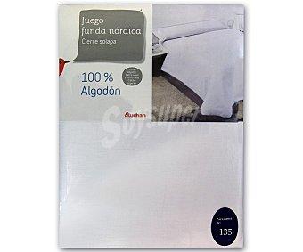 Auchan Funda para relleno nórdico y funda de almohada para cama de 135 centímetros, color blanco, 100% algodón 1 unidad