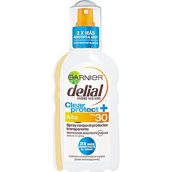 Delial Garnier Spray corporal protector transparente FP-30 resistente al agua Clear Protect Spray 200 ml