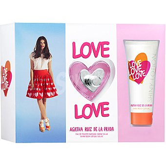 Ágatha Ruiz de la Prada Love Love eau de toilette natural femenina spray 50 ml + shiny body lotion tubo 100 ml Spray 50 ml