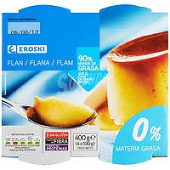 Eroski Flan de huevo 0% Pack 4x100 g