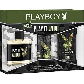 PLAYBOY Play It Wild eau de toilette masculina + desodorante spray 150 ml + gel de baño & champú frasco 250 ml spray 100 ml