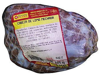 Embutidos Moreno Plaza Cerdo lomo cabeza mechada pieza fresco 700 g peso aprox.