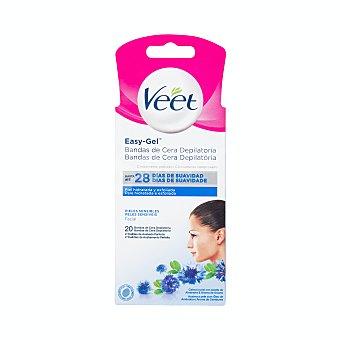 Veet Easy gelwax bandas de cera depilatoria facial Caja 20 u