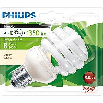 Philips (97 W) lámpara ahorro blanco cálido casquillo E27 (grueso) 230 V Tornado 20 W 1 unidad