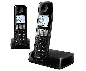 Philips Teléfono inalámbrico Dect negro, identificador de llamadas, listado de ultimas 20 llamadas recibidas, agenda de 50 contactos, manos libres, pantalla iluminada D2302B/23