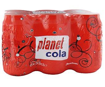 Auchan Refresco de cola Pack de 6 latas de 33 centilitros