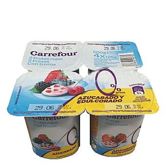 Carrefour Yogur desnatado panache con fresa Pack de 4x125 g