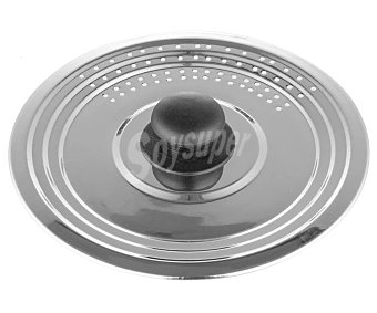Productos Económicos Alcampo Tapa de acero inoxidable con pomo de baquelita, adaptable de 16 a 20 centímetros alcampo