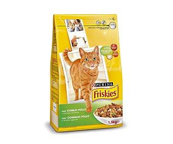 Friskies Purina Comida Seca para Gato Adulto de Conejo-Pollo-Verduras Bolsa 1,5 Kilos