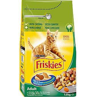 Friskies Purina Comida para Gatos Conejo pollo y verduras Adulto Paquete 1,5 kg
