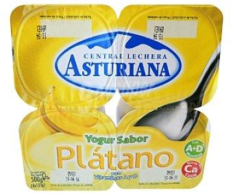 Central Lechera Asturiana Yogur sabor plátano Pack 4 Unidades de 125 Gramos