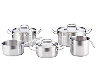 QUID Conjunto Cook Inox Basika de 5 piezas de ollas y cazos, más 3 tapas, fabricados en acero inoxidable con acabado mate/espejo y fondo difusor de 3 milímetros de espesor, aptos para inducción 1 unidad